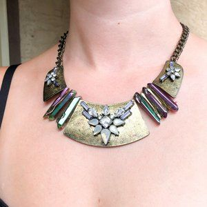 BaubleBar Gold & Iridescent Crystal Bib Necklace